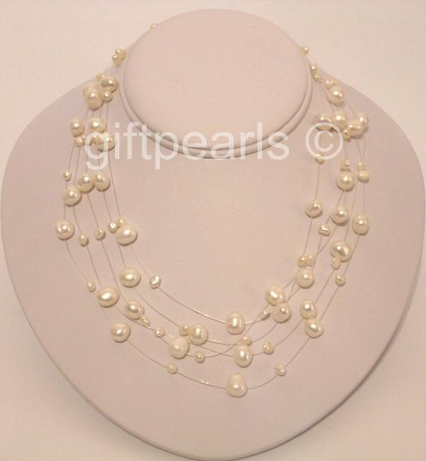 Gleaming White Pearl 5 Strand Illusion Necklace